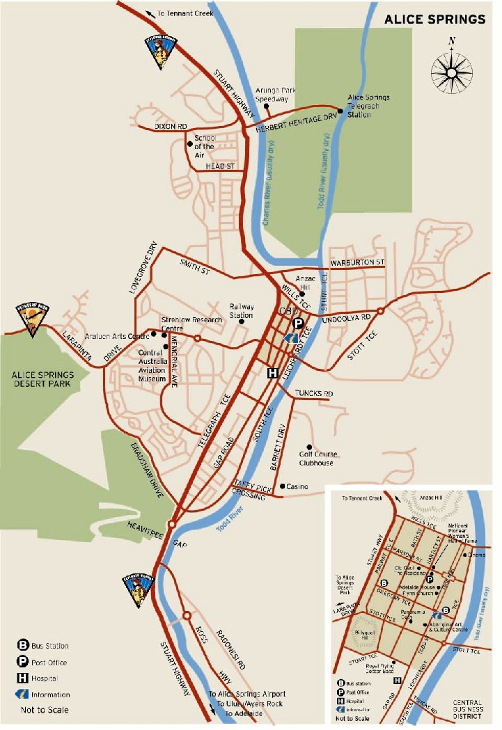 A free map of alice springs - tourist guide