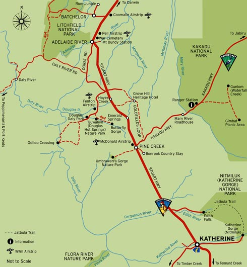 Darwin to Alice Springs on the Stuart Highway travel information for